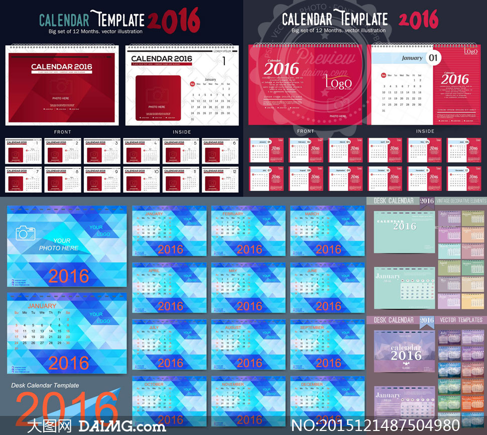 词: 矢量素材矢量图设计素材创意设计2016日历素材台历素材日历表日历图片