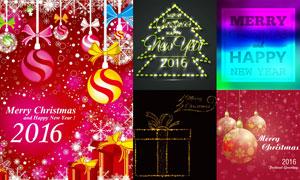 絢麗光效與圣誕掛球等圣誕矢量素材