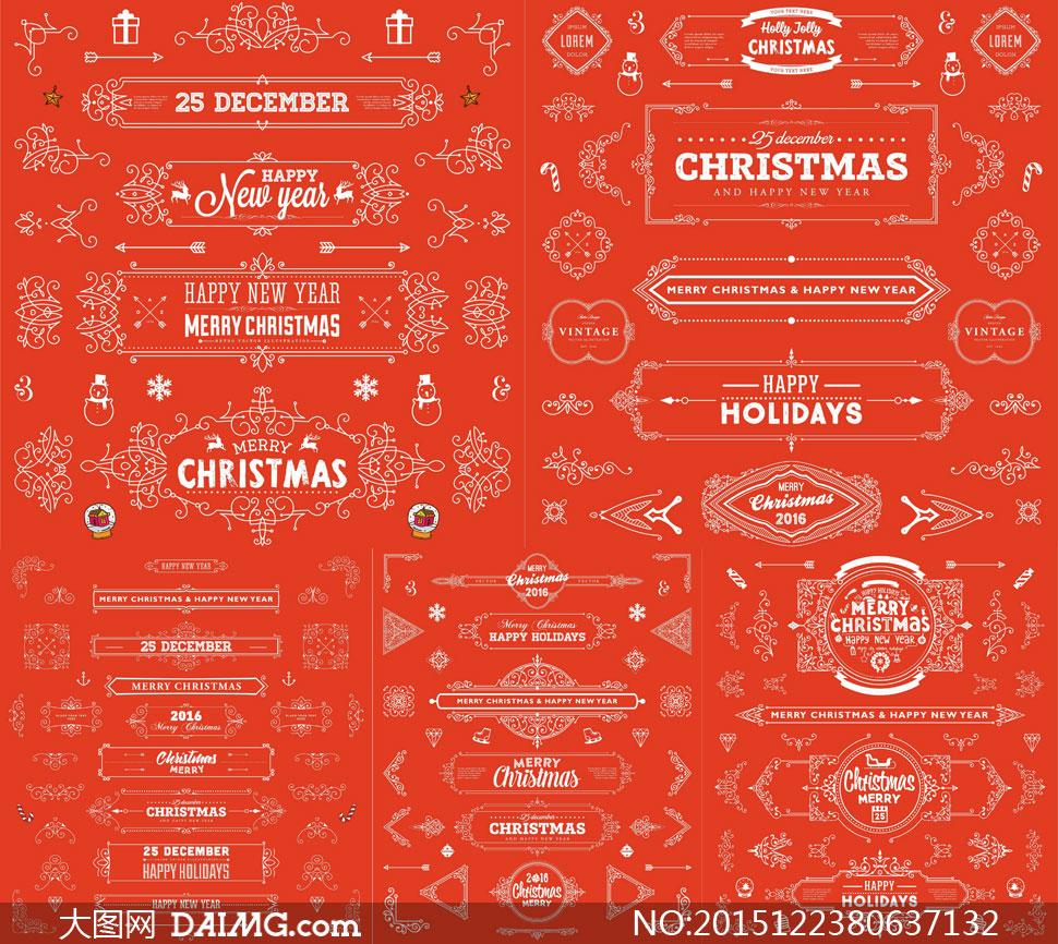 圣诞节节日素材花纹花边边框分割线分隔线雪人礼物盒