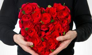 捧着手心里的心形花束摄影高清图片