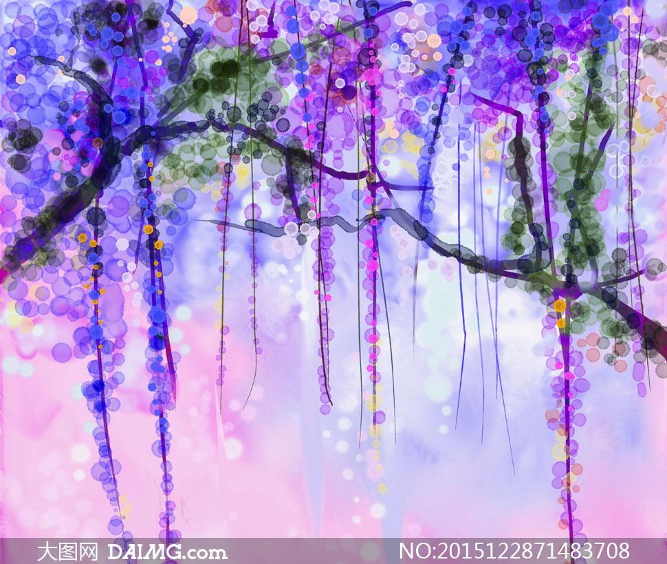 圆点元素等树枝水彩画创意高清图片