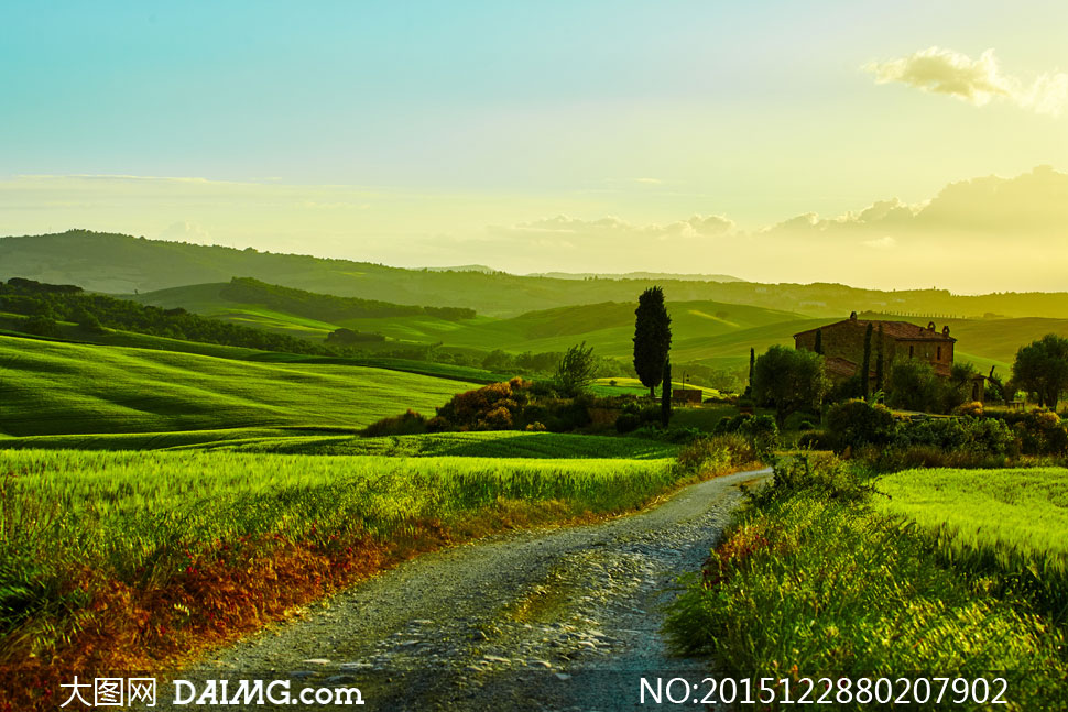 大图首页 高清图片 自然风景 > 素材信息          农田与树木等丘陵