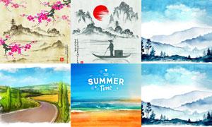 农田大海与远山等绘画创意矢量素材