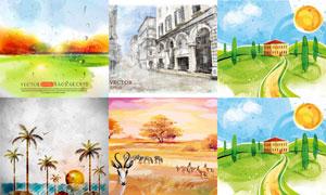 草原与城市田园等风光绘画矢量素材