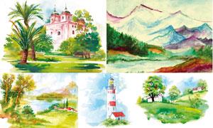 灯塔山峦与田园风光等绘画矢量素材
