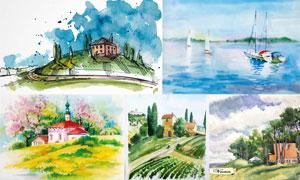 手绘水彩自然风光绘画创意矢量素材
