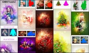 绚丽的圣诞节雪花装饰背景PS动作