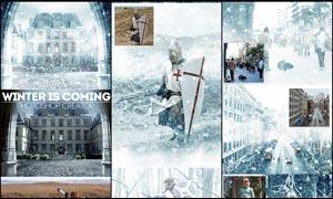 冬季超酷的暴风雪效果PS动作