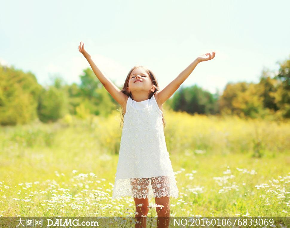 田野上的白裙子小女孩摄影高清图片