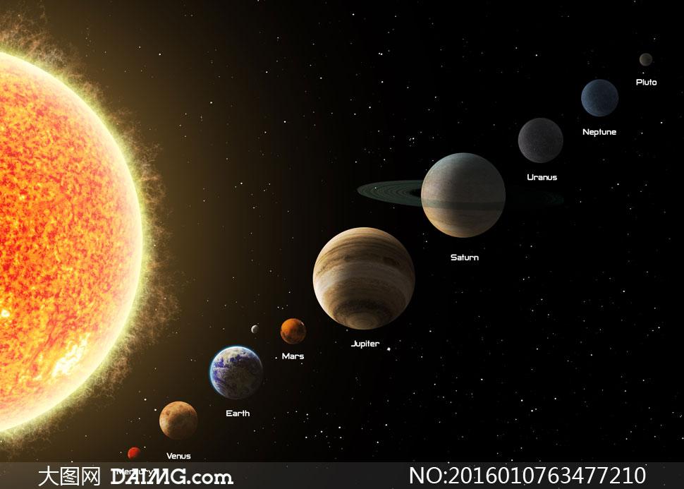 太阳系中九大行星创意设计高清图片