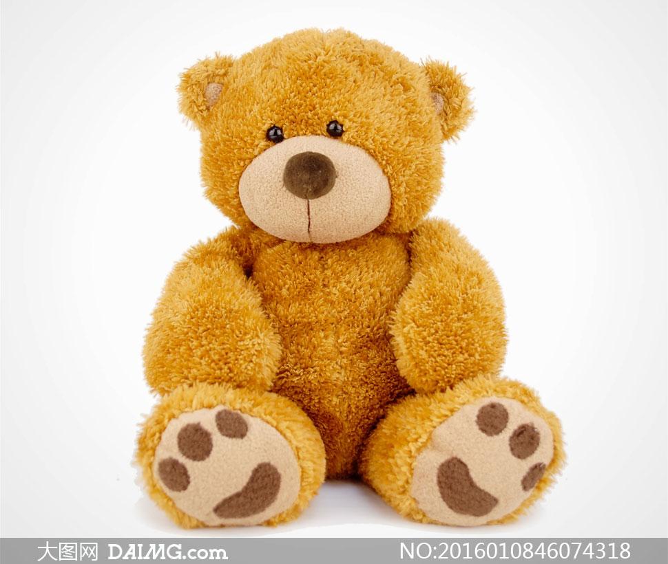 坐着的可爱玩具熊特写摄影高清图片