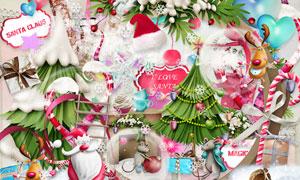 气球礼物盒与边框等圣诞节剪贴素材