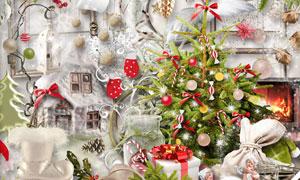 树枝糖果与挂球缎带等圣诞剪贴素材