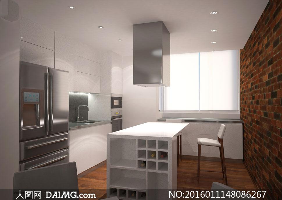 欧式厨房里的桌椅与冰箱等高清图片