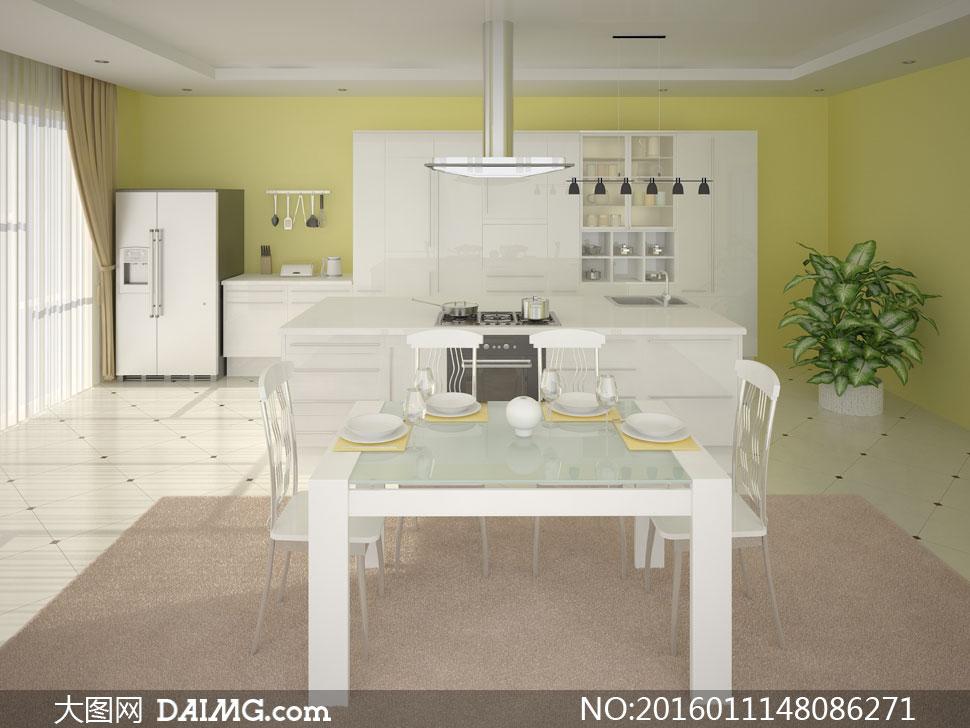 欧式开放式厨房桌椅等摄影高清图片