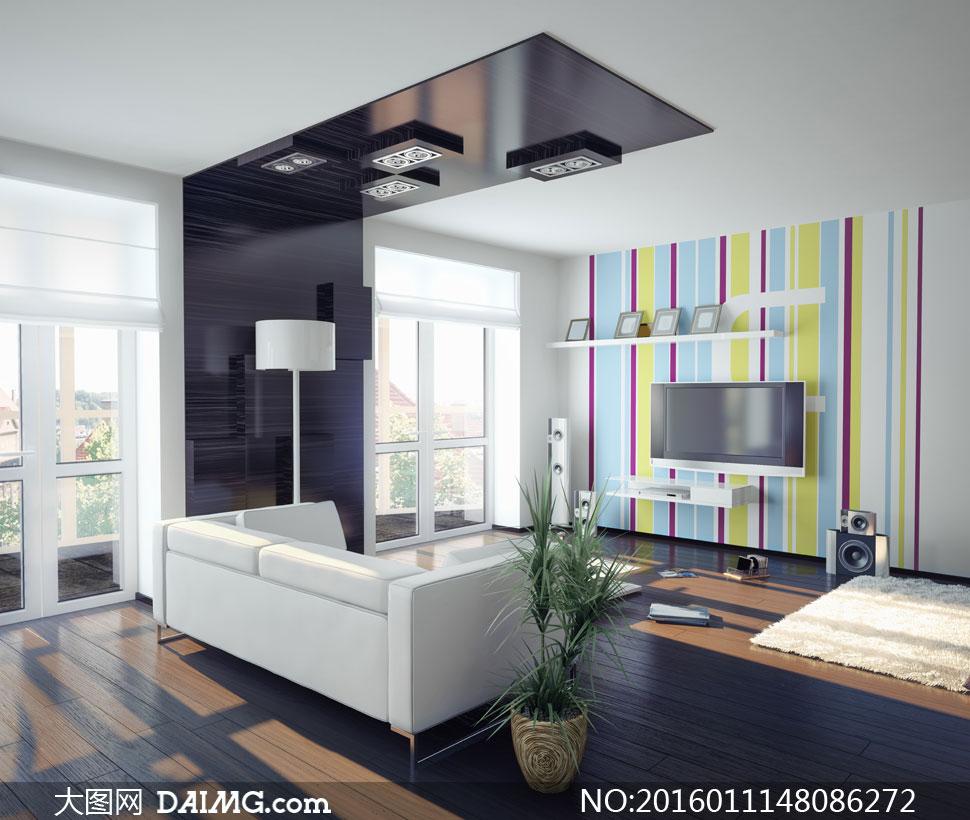 现代风格客厅家具陈设摄影高清图片