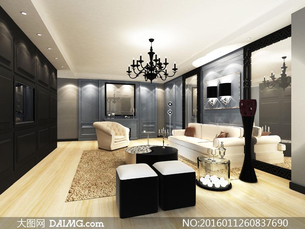 房间里的欧式家具陈设摄影高清图片