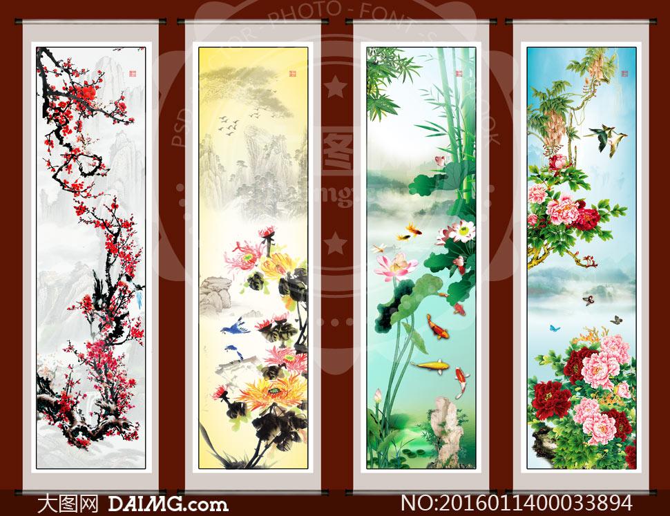 中国风四季国画卷轴设计PSD素材