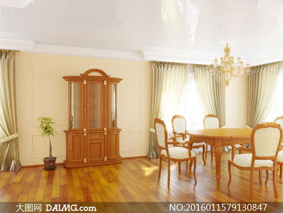 陈设家具房间桌椅椅子桌椅欧式古典窗帘吊灯灯具柜子