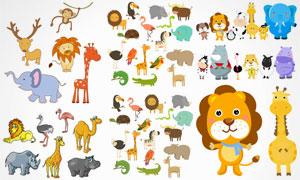 狮子大象等可爱卡通小动物矢量素材