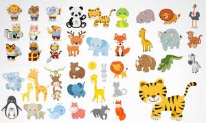 狐狸鳄鱼与老虎等卡通形象矢量素材