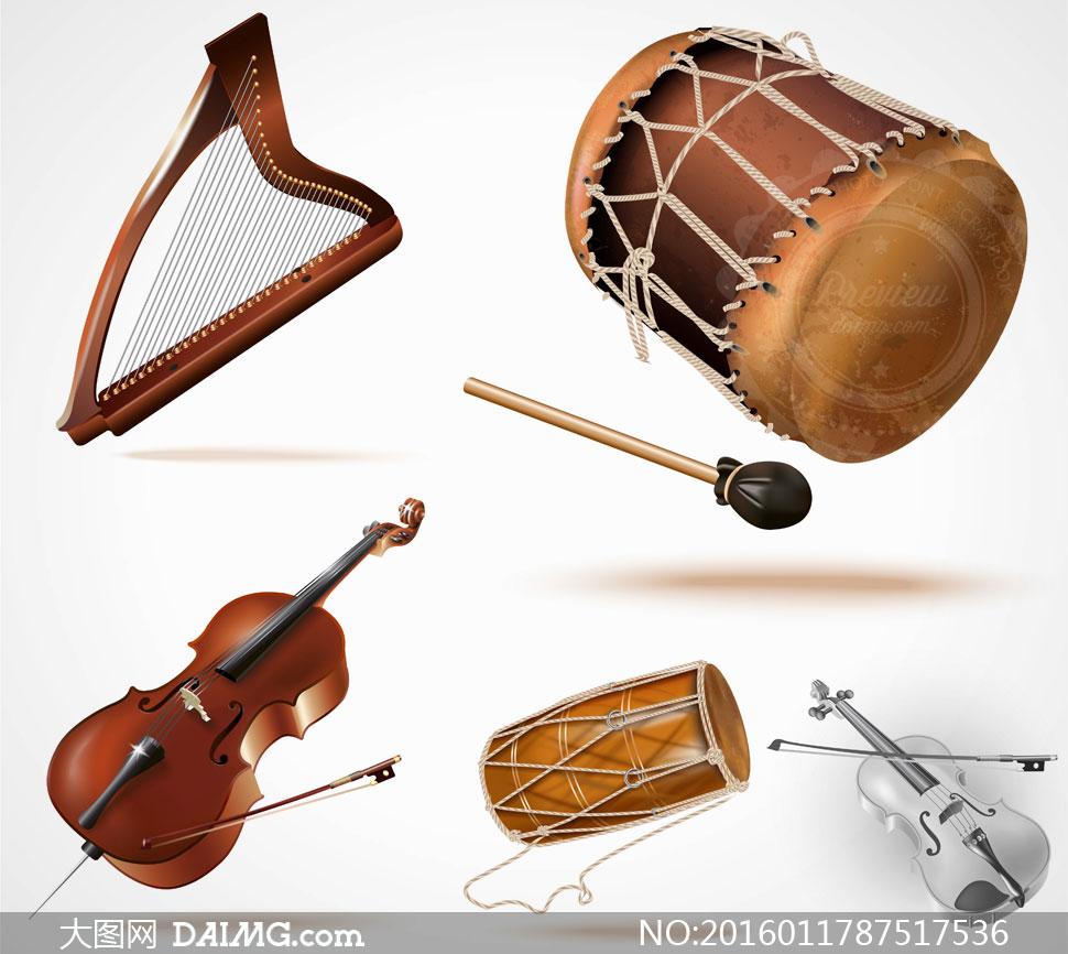 竖琴小提琴等乐器主题设计矢量素材图片