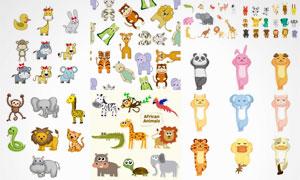 卡通风格猴子长颈鹿等动物矢量素材