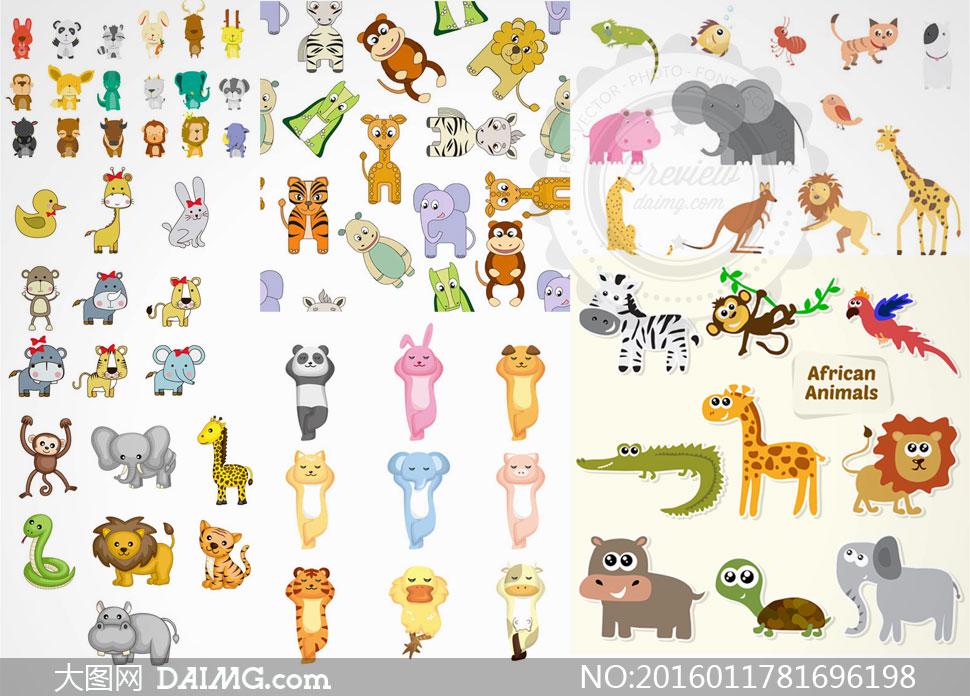 卡通动物兔子熊猫可爱猴子大象犀牛狮子猫咪老鼠青蛇