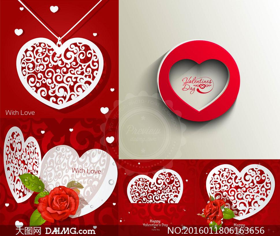 镂空效果吊坠与红玫瑰花等矢量素材