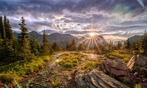 美国公园山顶日出美景摄影图片