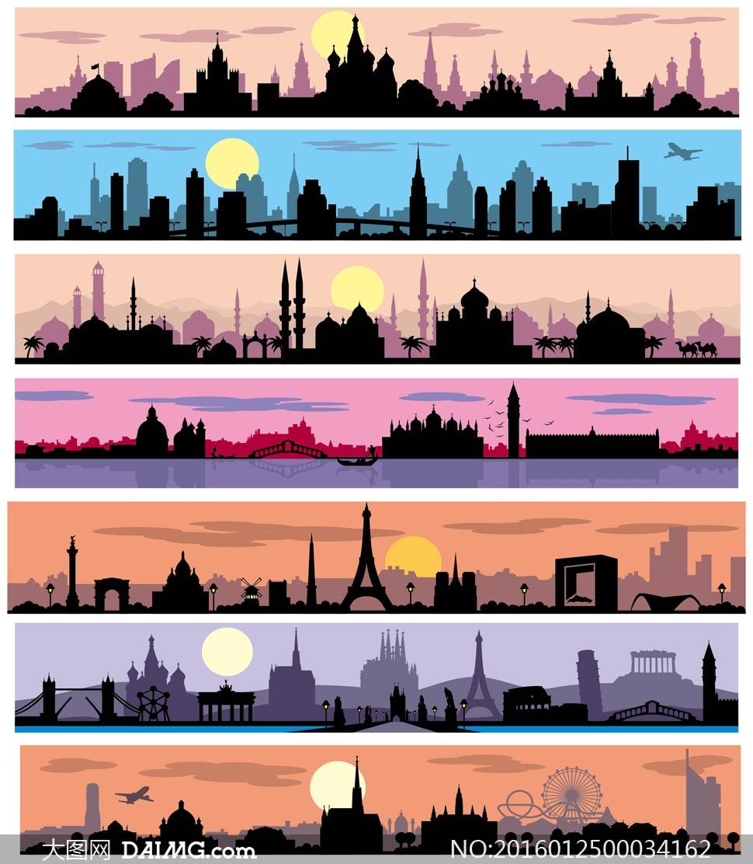 剪影月亮飞机城市地标剪影山峰剪影手绘城市矢量素材