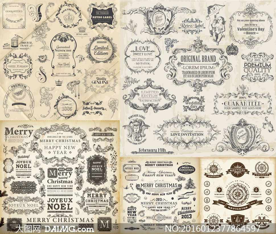 矢量素材矢量图设计素材欧式古典怀旧复古图案花纹