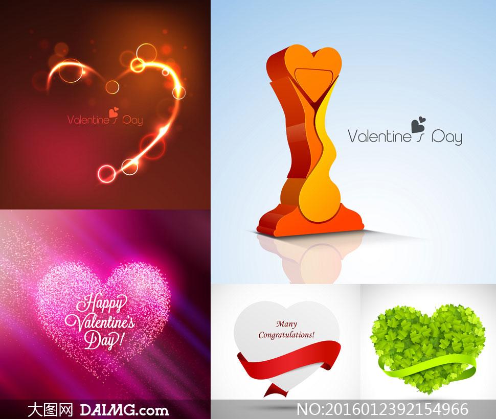 词: 矢量素材矢量图设计素材创意设计节日素材情人节心形桃心红色叶子