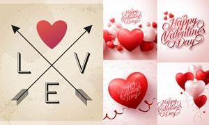 心形气球与红色丝带等创意矢量素材图片