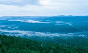 原始森林造成云雾美景摄影图片