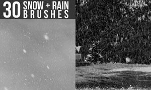30款高清晰暴风雪和下雨效果PS笔刷