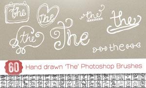 60款高清晰手绘涂鸦英文设计PS笔刷