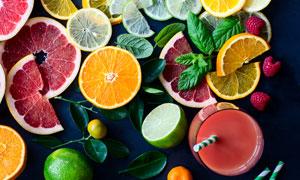 桔子与水果等切片特写摄影高清图片