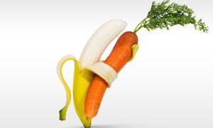 拥抱胡萝卜的香蕉创意摄影高清图片