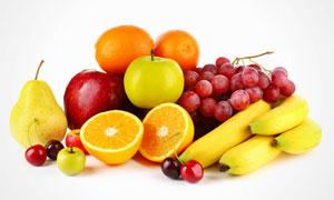 香蕉葡萄与切开的橙子摄影高清图片