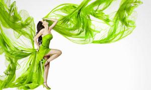 綠色長裙美女人物寫真攝影高清圖片