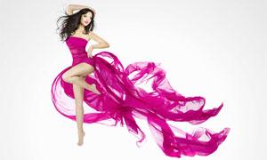 紫色拖尾長裙美女人物攝影高清圖片