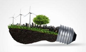 灯泡为载体的环保主题创意高清图片