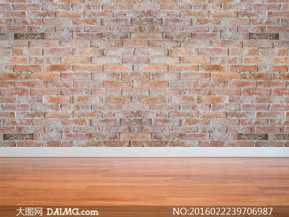 室内仿做旧效果的砖墙摄影高清图片