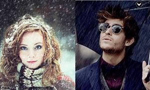 照片添加下雨和下雪效果PS动作
