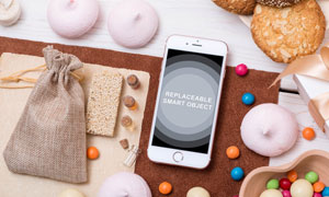 跟食物放在一起的智能手机效果模板