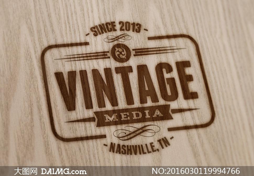 木板上的烫印效果标志展示设计模板