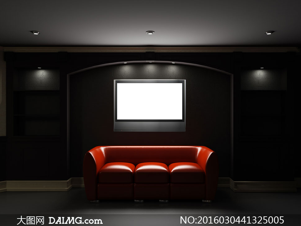 房间顶灯灯具灯光电视机家庭影院红色沙发壁灯黑色