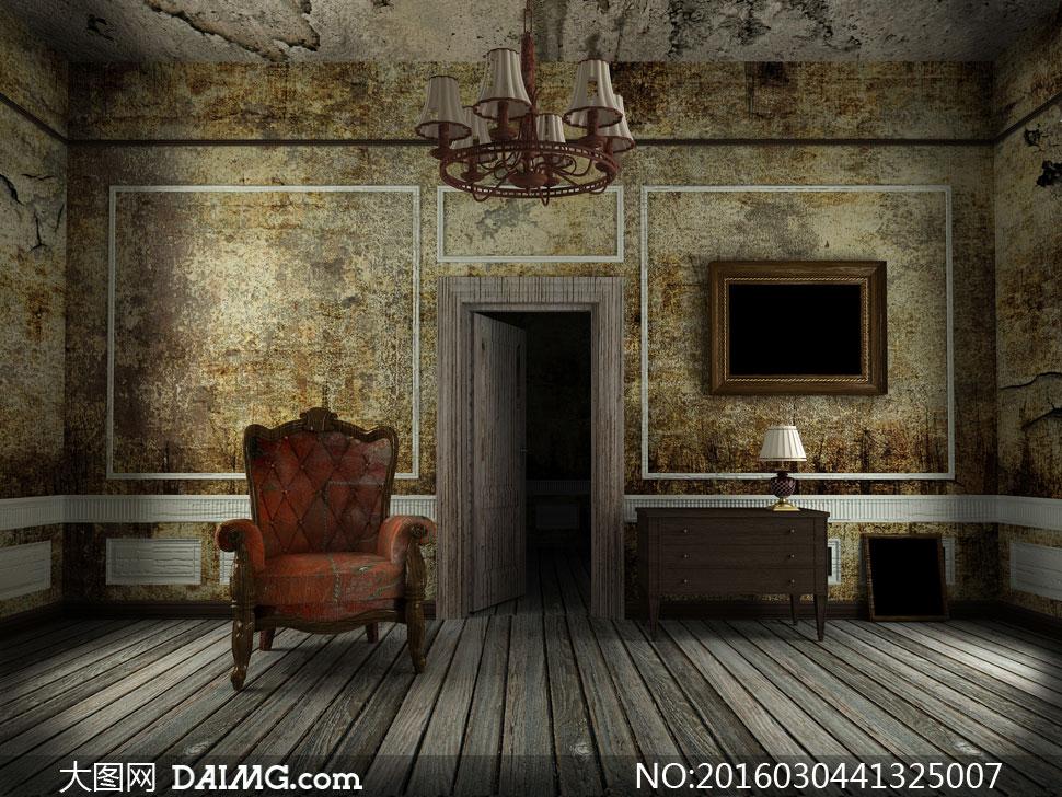 画框沙发欧式木地板抽屉桌台灯灯具房门吊灯污渍污迹
