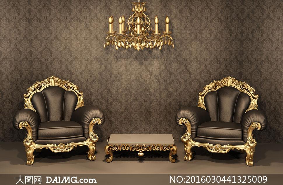 欧式金色豪华沙发家具摄影高清图片